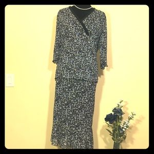 Venezia Black Sheer Floral Pattern Skirt Set